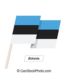 Estonia Ribbon Waving Flag Isolated on White. Vector...