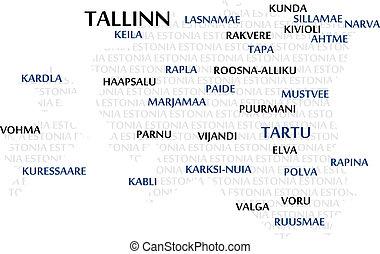 estonia, słowo, chmura, mapa