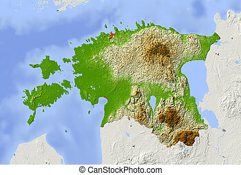 Estonia. Shaded relief map with major urban areas. Surrounding territory greyed out. Colored according to elevation. Includes clip path for the state area.