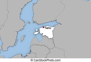 Estonia - Abstract 3d render of map of Estonia highlighted...
