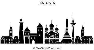 estonia, talinn, architektura, wektor, miasto skyline,...