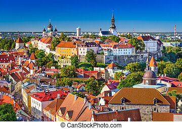 Estonia, Tallinn Skyline - Tallinn, Estonia, old town...
