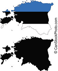 estonia - vector map and flag of Estonia with white...