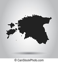 Estonia vector map. Black icon on white background.