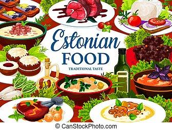 Estonian cuisine vector dishes Estonia food poster - ...