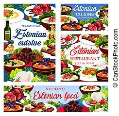 Estonian cuisine vector Estonia dishes posters - Estonian ...