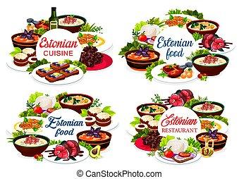 Estonian cuisine vector Estonia food round frames - Estonian...