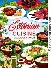 Estonian cuisine vector food Estonia meals poster - Estonian...