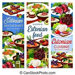 Estonian dishes, Estonia cuisine vector banners - Estonian ...