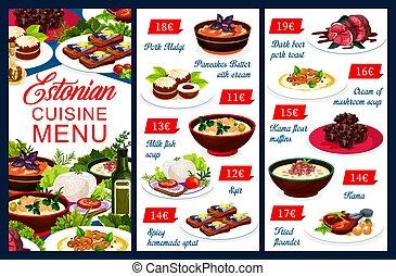 Estonian dishes menu template, Estonia cuisine - Estonian ...