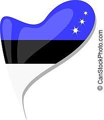 Estonian flag button heart shape - An Estonian flag shaped ...