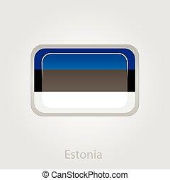 Estonian flag button, vector illustration