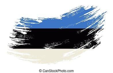 Estonian flag grunge brush background. Vector illustration...