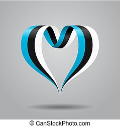 Estonian flag heart-shaped ribbon. Vector illustration. - ...