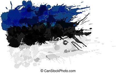 Estonian flag made of colorful splashes