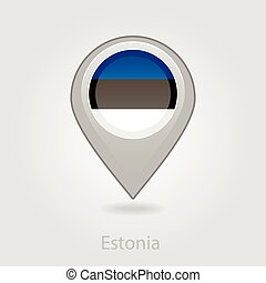 Estonian flag pin map icon, vector illustration