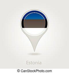 Estonian flag pin map icon, vector illustration