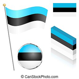 Estonian Flag Set - Estonian flag on a pole, badge and ...