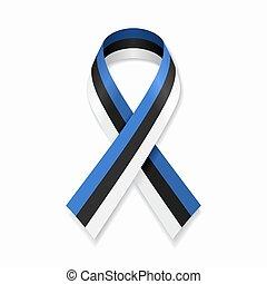 Estonian flag stripe ribbon on white background. Vector ...