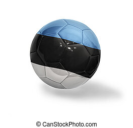 Football ball with the national flag of Estonia on a white background