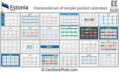 Estonian horizontal pocket calendar for 2021 - Estonian ...
