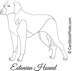 Estonian hound cartoon dog outline vector illustration