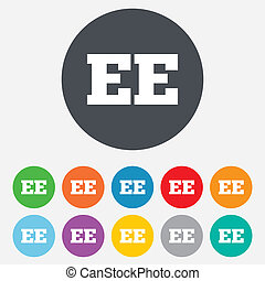 Estonian language sign icon. EE translation. - Estonian...