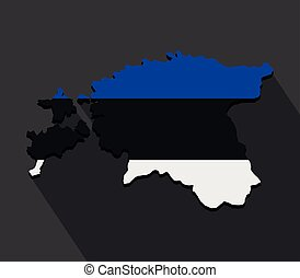 Estonian map with flag