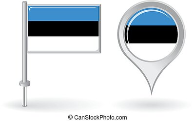 Estonian pin icon and map pointer flag. Vector illustration.