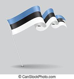Estonian pin wavy flag. Vector illustration. - Estonian pin ...