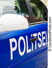 Estonian police car on the street. Close-up view.