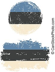 Estonian round and square grunge flags. Grunge effect can be...