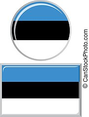 Estonian round and square icon flag.