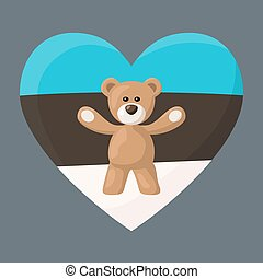 Estonian Teddy Bears - Teddy Bears with heart with flag of ...