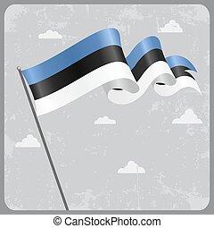 Estonian wavy flag. Vector illustration. - Estonian flag ...
