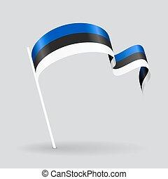 Estonian wavy flag. Vector illustration.
