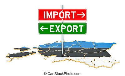 estonie, concept, rendre, exportation, importation, 3d