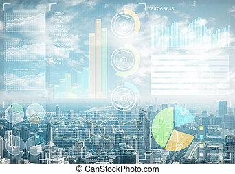estoque, cityscape, fundo, dados, mercado