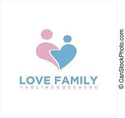 estoque, família, coração, vetorial, logotipo, amor