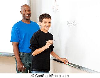 estoque, foto, de, professor, e, estudante, -, matemática