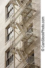 estoque, foto, de, um, escada salva-vidas, ligado, edifício...