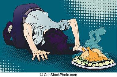estoque, illustration., alimento., chicken., adorações, orando, homem