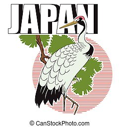 estoque, illustration., japoneses, grus.