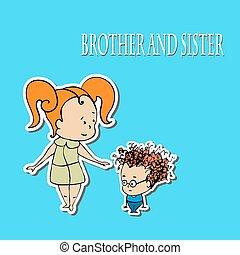 estoque, irmã, vetorial, irmão, saudações