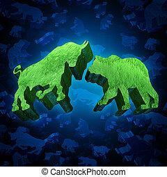estoque, mercado, urso, touro
