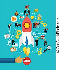 estoque, negócio, infographics, início