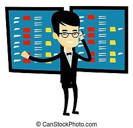 estoque, stockbroker, vetorial, illustration., câmbio
