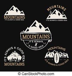 estoque, wanderlust, collection., desenhado, acampamento, logotypes, expedição, vetorial, hiking., etiquetas, mão, emblems., viagem, set., emblemas, montanha, designs., vindima, logotipos, ao ar livre