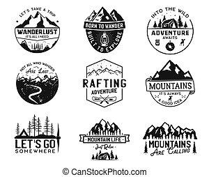 estoque, wanderlust, collection., desenhado, acampamento, logotypes, expedição, vetorial, hiking., etiquetas, mão, emblems., viagem, isolado, branca, set., emblemas, montanha, designs., vindima, logotipos, ao ar livre
