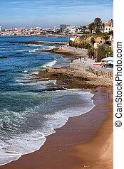 estoril, 同时,, cascais, 海岸线, 在中, 葡萄牙